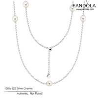 Luminous Dainty Droplets Necklace 925 Sterling Silver White Crystal Pearl Pendant Necklaces for Women Original Jewelry collares