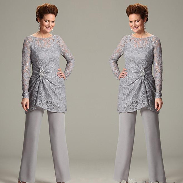 cb572c06343 ursula of switzerland Two Piece Pant Suits with Illusion Scoop Lace Long  Sleeve Chiffon Plus Size Mother of the Bride dresses