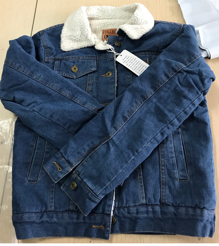 Spring Autumn Winter New 19 Women lambswool jean Coat With 4 Pockets Long Sleeves Warm Jeans Coat Outwear Wide Denim Jacket 20