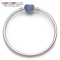 CODY COBY Logo Real 925 Sterling Silver With Blue CZ Heart Charm Bracelets Bangles For Men