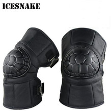 ICESNAKE Knee Pad Motorcycle Knees Pads Keep Warm Protect Genuine Leather Thick Warm Knee Pads Winter Cold Windproof Rider woolen windproof cold proof knee pad off white pair set