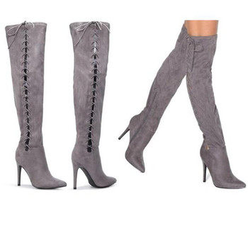 High Quality Grey Long Boots Suede Side Thigh High Lace Up Boots Women Cut-out Cross-tied Shoes Women Gladiator Over Knee Boots