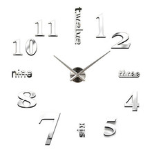 Zegar ścienny cyfrowy naklejka akrylowy nowoczesny design zegar ścienny DIY 3D naklejane lustra na powierzchnie dekoracje do domowego biura duży zegarek zegar tanie tanio Zegary ścienne 12cm Nowoczesne circular Igła PORTRAIT Wall Clock Salon Oddziela 120mm ISHOWTIENDA 108g Z tworzywa sztucznego