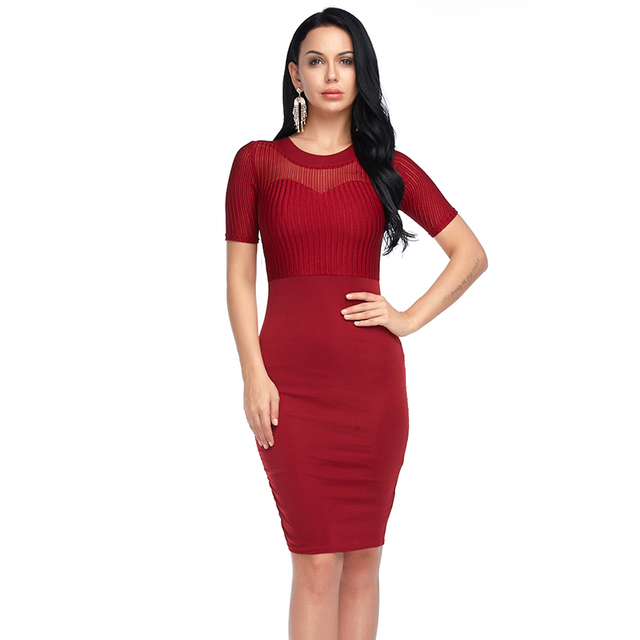 73a8af5912b6e Women Sexy Bodycon Dress Spring Summer Fashion Mesh Party Work Dresses Black  Blue Red Plus Size 3XL Translucent Short Sleeve