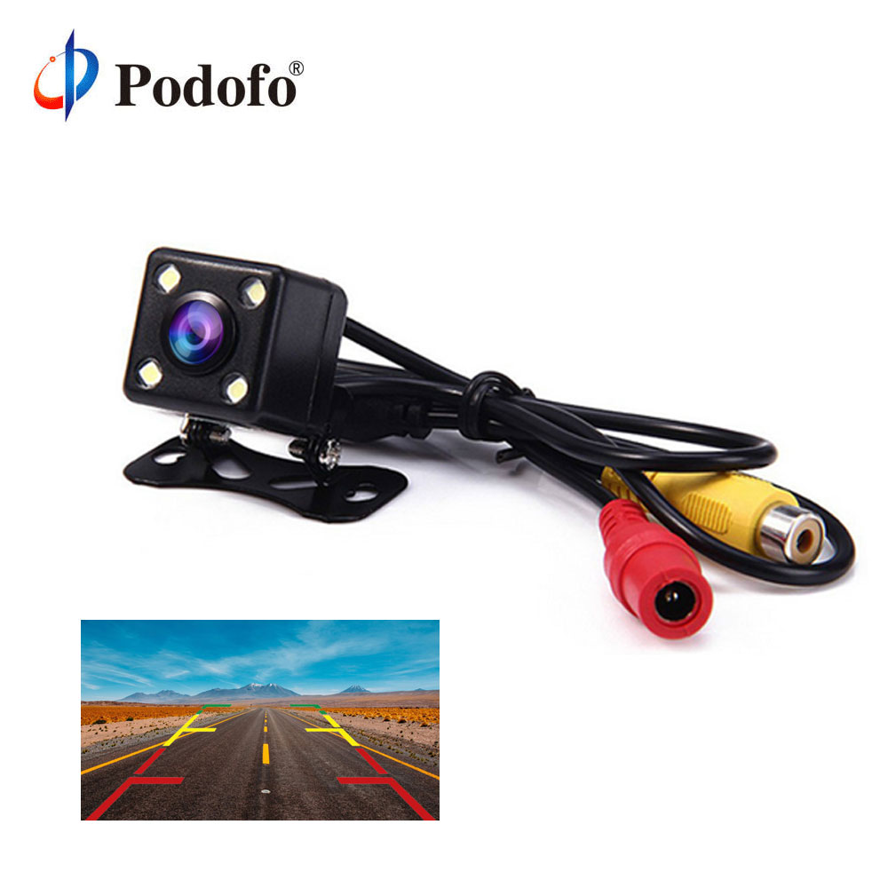 Podofo 4 Led Lamps Reverse Camera Night Vision HD Car Rear View Camera Wide View Angle Reverse Parking Assistance Backup Cameras podofo dual backup camera