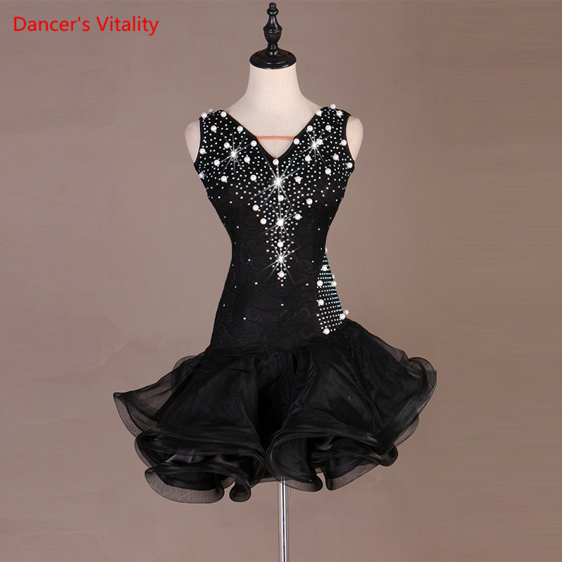 2019 New Style Latin Dance Costume Senior Sexy Spandex Stones Sleeves LatinDance Dance Dress For Women Latin Dance Dresses