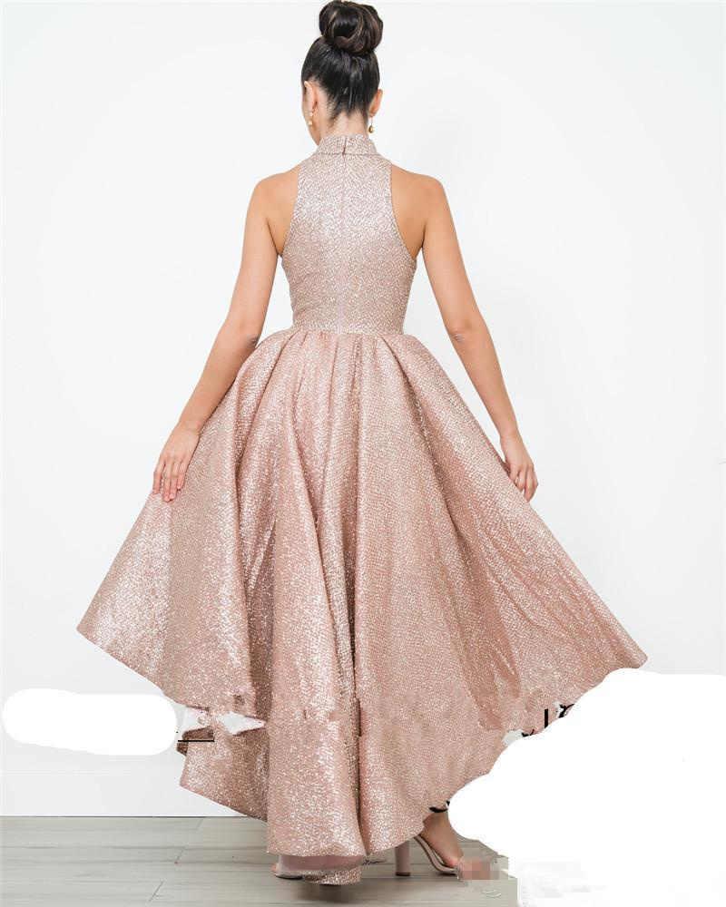 Ouro rosa Alta Baixa Prom Dresses A Linha Lantejoulas Hi-Lo Partido Do Regresso A Casa Vestidos Especiais da Ocasião Vestido de Noite Formal vestidos