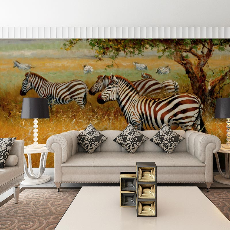 Custom Wall Decal Papier Murals Painting Zebras On Prairie Print Home Deco Wallpaper Mural For Living
