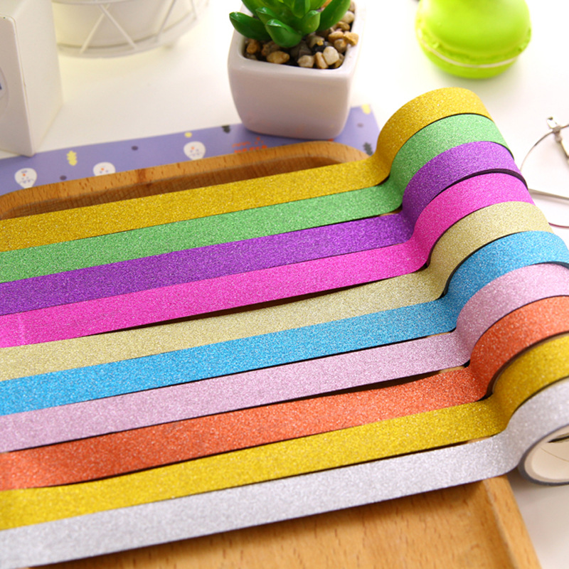 10pcs/lot Kawaii Glitter Matte Tape 10 Colors Book Decor Washi Tape Scrapbooking Card Adhesive Paper Sticker DIY Craft Gift