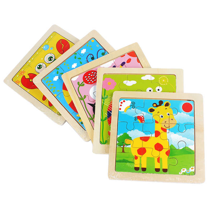 Kinderen Speelgoed Houten Puzzel Kleine Maat 11*11 cm Houten 3D Puzzel voor Kinderen Baby Cartoon Dier/ verkeer Puzzels Educatief Speelgoed