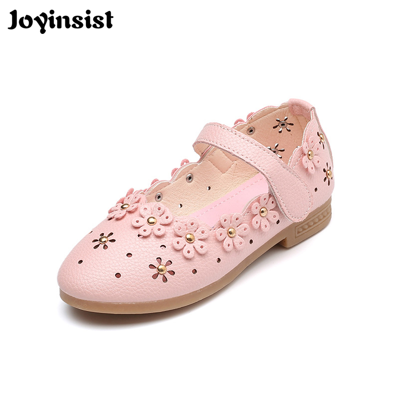 2018 new spring and autumn flower hollow girls shoes in large childrens small shoes ...