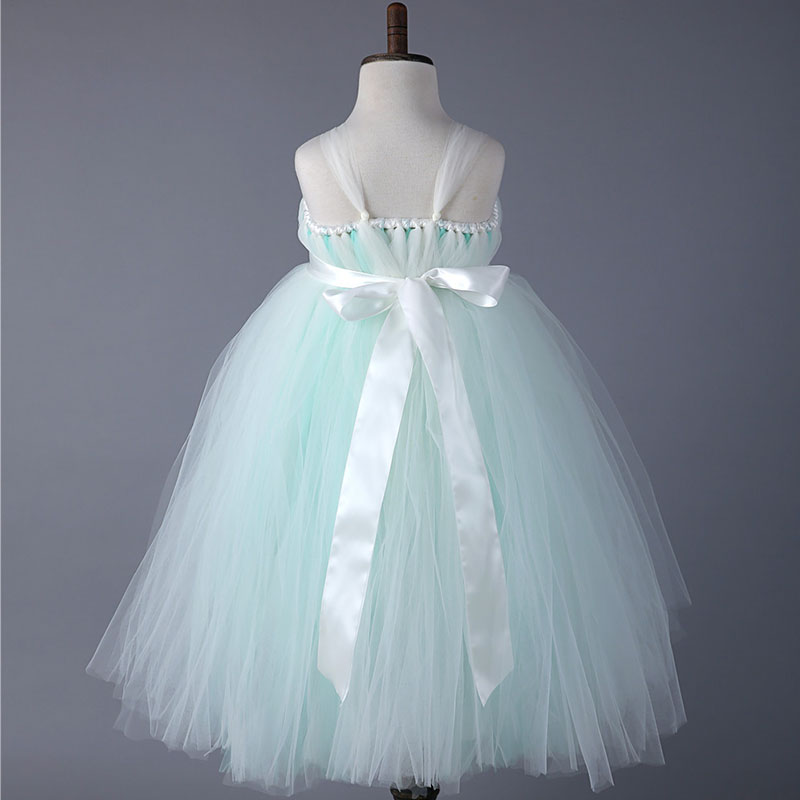 Girls Princess Wedding Dresses With Ribbons Straps Ankle Length Cute ...