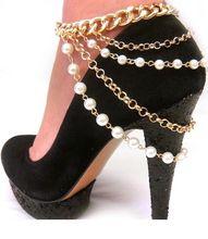 Zapatos de Mujer Tacones Altos Cadena Tobilleras de Oro de La Cadena Nueva Joyería de Moda Caliente