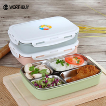 WORTHBUY 304 Stainless Steel Japanese Lunch Box Containers With Compartments Microwave Bento Box For Kids Picnic Food Container