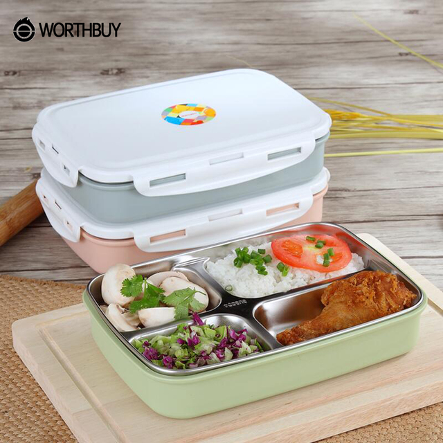 WORTHBUY 304 Stainless Steel Japanese Lunch Box Containers With Compartments Microwave Bento For Kids Picnic