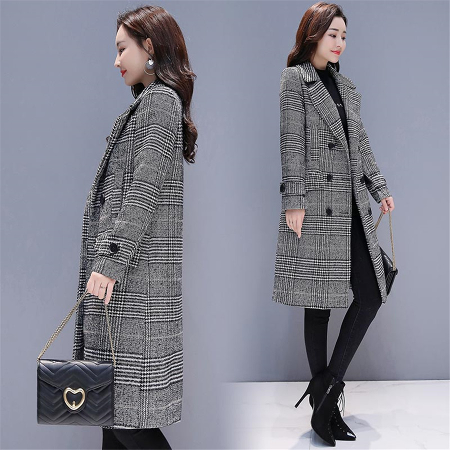 Image 2 - Hodisytian Winter Women Wool Blends Plaid Trench Coat Elegant  Outerwear Casual Loose Thick Cardigan Female Cashmere OvercoatWool