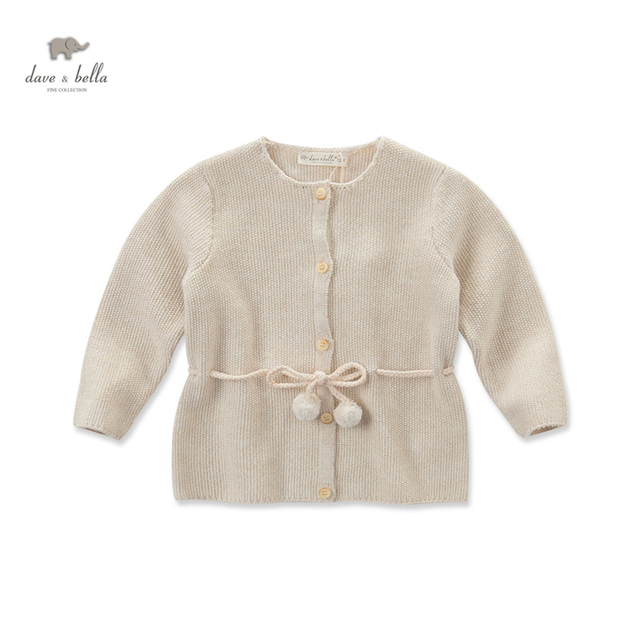 DB3718 dave bella autumn baby girls beige cardigan with adjustable wais girls simple sweater girls cardigan