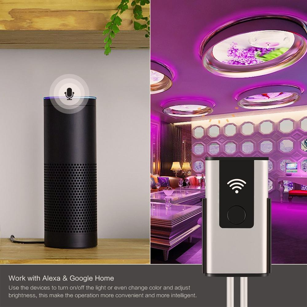 Smart Wireless WIFI Controller for LED Light Strips to RGB Light with Music in Amazon Alexa and Google Home with APP Womo Smart