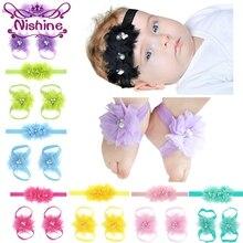 Nishine 16 цветов головная повязка с цветком для новорожденного босиком сандалии наборы атласные кружева цветок Детские аксессуары для декора реквизит для фотографии