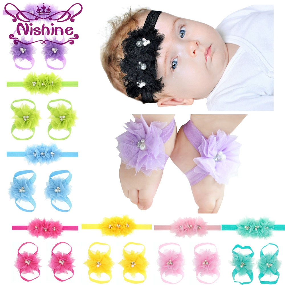 Nishine 16 Colors Newborn Flower Headband Barefoot Sandal Sets Satin Lace Flower Kids Accessories For Decor Photography Props