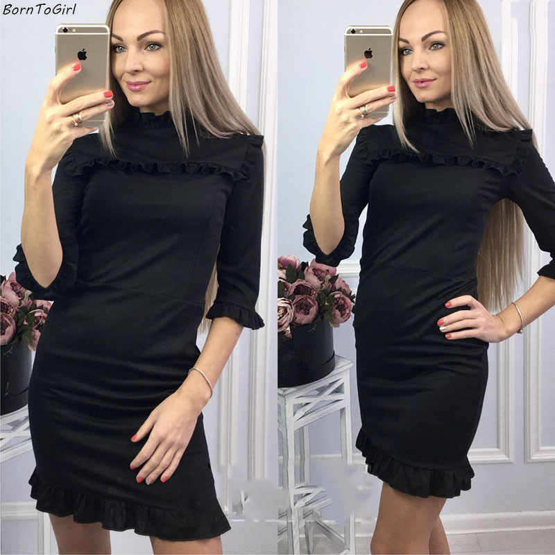 BornToGirl Slim volants robe crayon femmes automne hiver 3/4 manches o-cou noir robe robe femme 2019