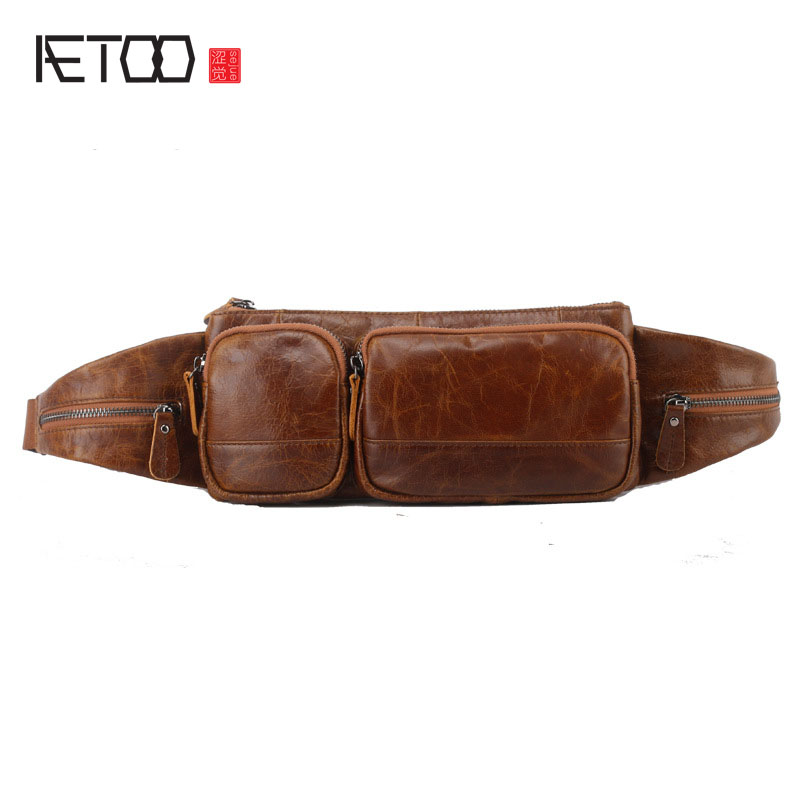AETOO New  Leather Pockets Men Multi-functional Leather Men's Bag Diagonal Cross Leather Waist Packs Men Fashion Waist Bag