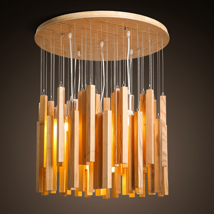 Creative Modern Design Meteor Shower Wooden Pendant Lamp Dinning Room Rustic Light Fixture Dia 40cm