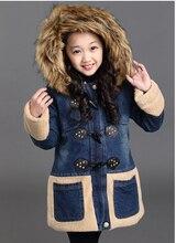 2016 высокое качество девушки мода утолщение пальто для зима новый хан издание ковбой объединяясь шерсти ягненка рог пальто