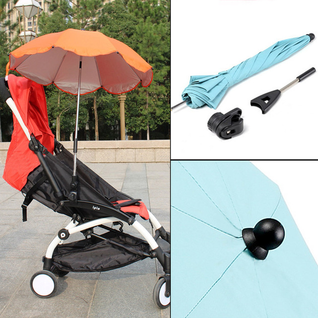 Baby Stroller Sun Umbrella Wheelchair Pushchair Pram Uv Rays Rain Parasol Clip Adjule Direction