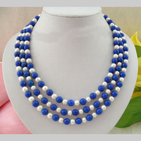 New Arriver Pearl Necklace,Stunning 3 Rows 7 8mm Blue Lapis es White Freshwater Pearl Necklace,Perfect Women Chirtstmas Gift