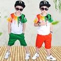 2017 Лето детская Одежда Мальчиков Костюмы 100% Хлопка С Коротким Рукавом Футболки + Шорты Одежда Мальчик Зеленый Orange Прилив цвет
