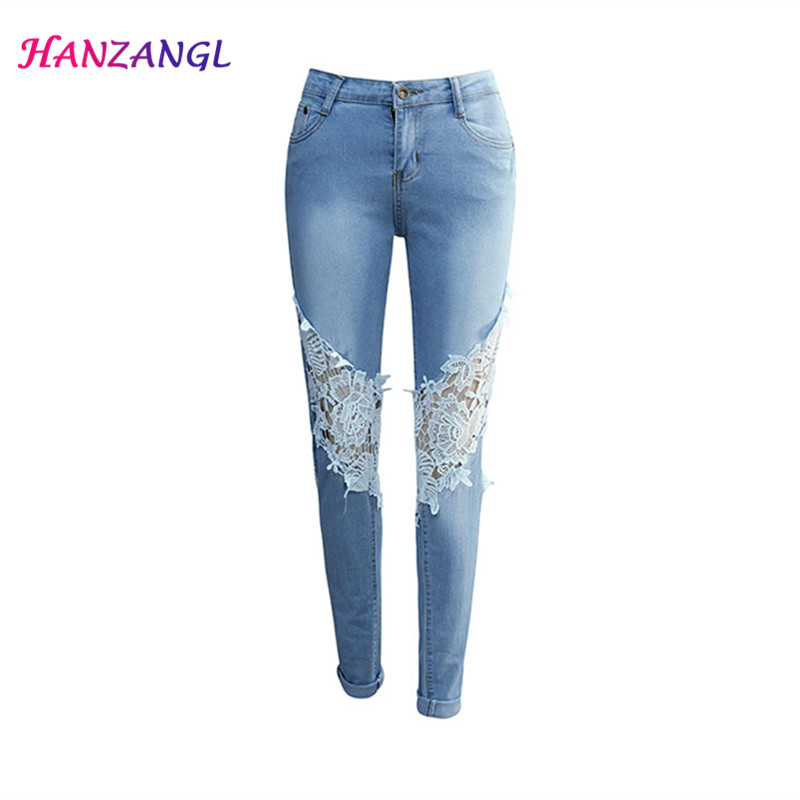 New Women s hollow out lace ladies jeans Female Slim denim pants jeans HANZANGL Elasticity low