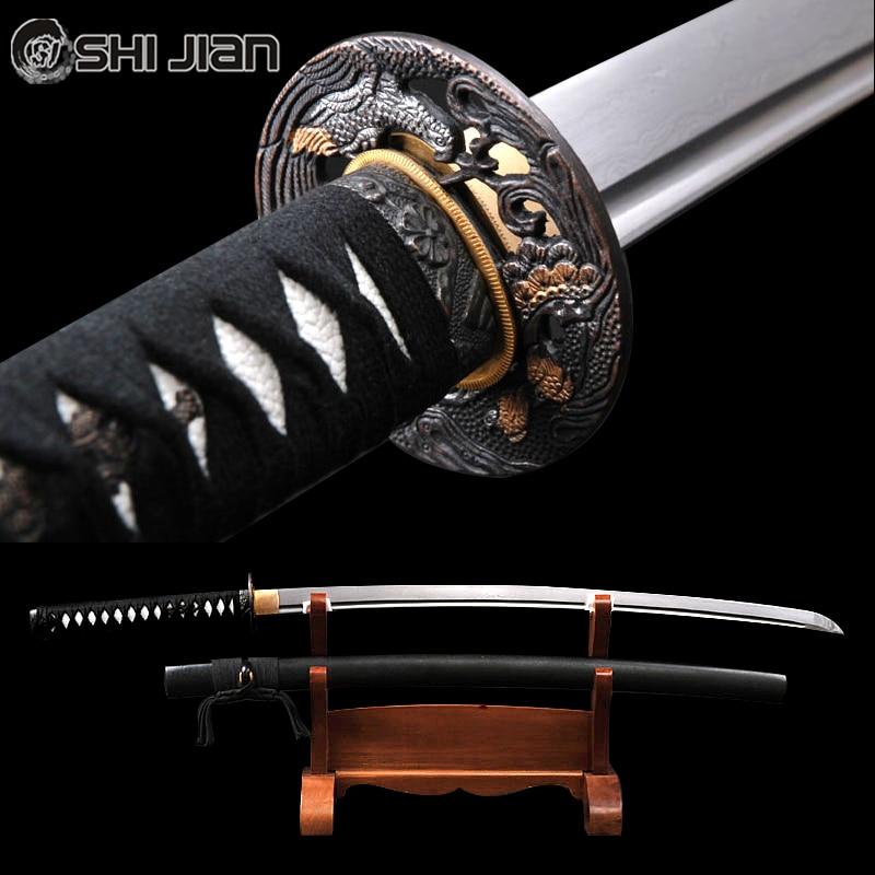 Shijian Épées Longue Main Japonais Samouraï Katana Pointu Pleine Soie Damas En Acier Plié Tameshigiri Pratiquer L'aikido Iaido