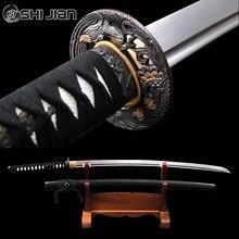 Shijian мечи длинные ручной работы японских самураев Katana острый, с накладным монтажем клинок из дамасской стали Tameshigiri практика айкидо иайдо