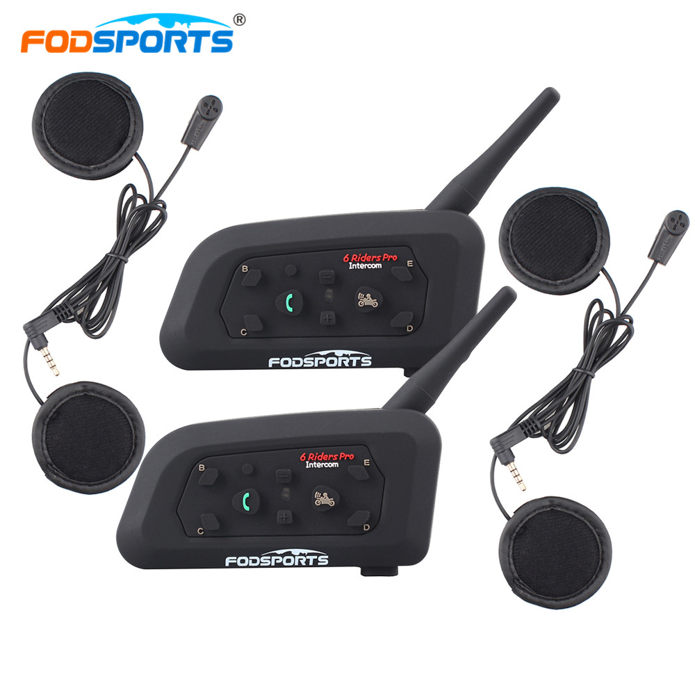 Fodsports 2PCS V6 Pro Helmet Bluetooth Headsets Motorcycle Intercom for 6 Riders BT Wireless Intercomunicador Interphone