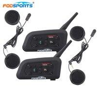 Fodsports 2pcs Motorcycle Helmet Bluetooth Headset Free Metal 6 Riders 1200M BT Full Face Helmet Intercom