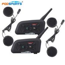 Fodsports 2 шт./лот мотоциклетный шлем гарнитура 6 гонщиков max 1200M Закрытый Шлем переговорные гарнитуры Bluetooth гарантии