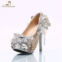 Большой размер 45 роскошные серебряные Стразы Свадебная вечеринка обувь Великолепная Дизайн цветок Свадебная обувь индивидуальный заказ т