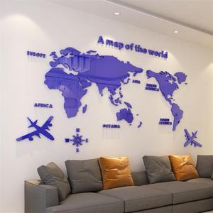 Image 5 - Moderne Wereld Kaart Acryl Decoratieve 3D Muur Sticker Voor Woonkamer Slaapkamer Kantoor Decor 5 Maten Diy Muursticker Home decor