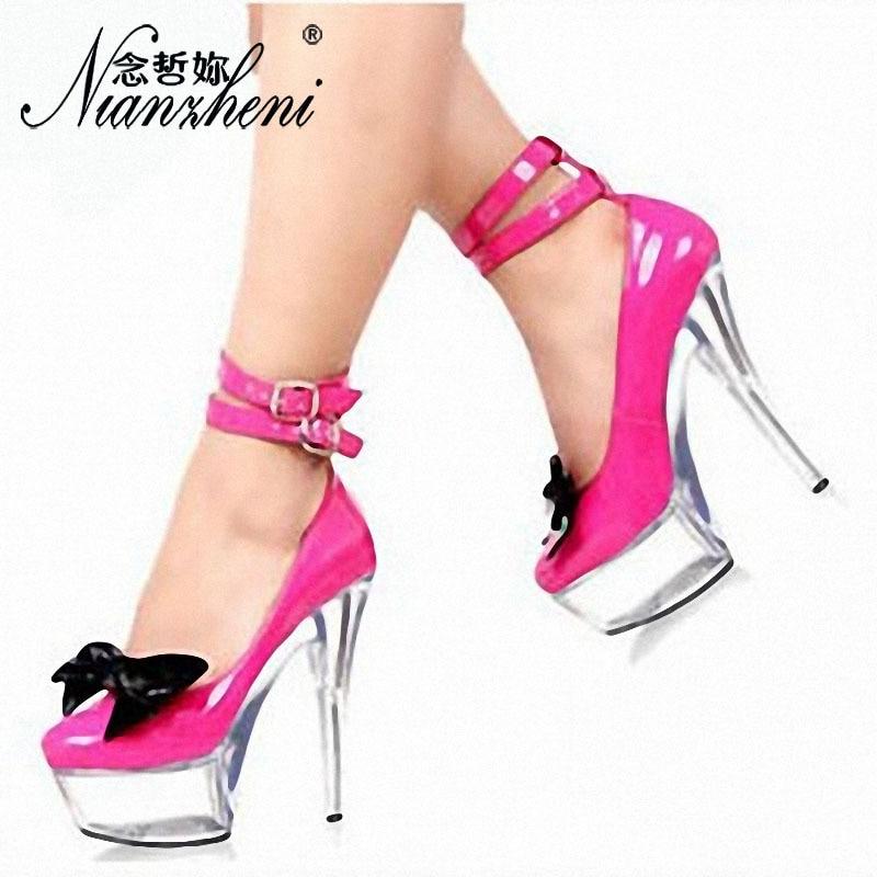 Super Femmes 15 Stilettos Cheville La Talon Us4 Sangle Plus forme Plate Arc Clair Transparent Noeud Taille Chaussures Cm Haute 12 Sxwpq58