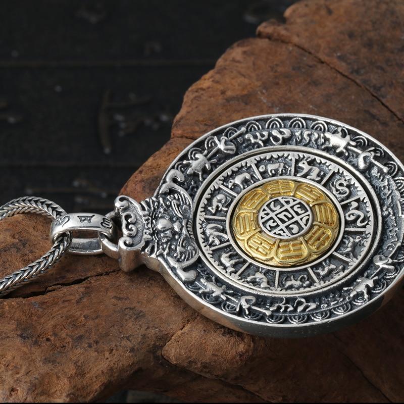 Mode hommes charmes 925 pendentif en argent Sterling collier Style Vintage rond Design pendentif mâle bijoux en argent cadeau garçon - 4