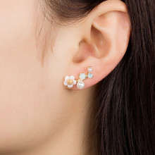 Brinco Masculino Frete Gratis 2018 Hot Sale Flowers Pearl Earrings For Women Gold Color Fashion Jewelry Trend Stud QW57