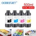 500 мл 4 цвета/набор Светодиодный УФ-чернил для DX4 DX5 DX6 DX7 печатающая головка для Epson 1390 R1800 R1900 4800 4880 7880 9880 UV принтер (BK C M Y)