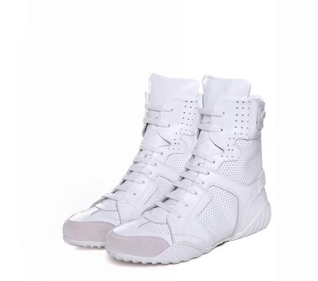 Summer dance shoes boot women boots slope with flat Genuine leather sandals ankle boots shoes woman Breathable Martin boots.