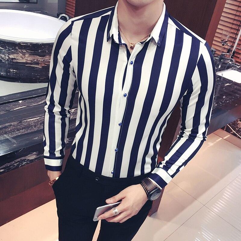 Chemise coréenne à rayures hommes marine noir rouge chemise à rayures hommes à manches longues robe boutonnée blouse hommes camicia uomo grande taille 5xl - 2
