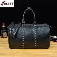 YULYYE New High Quality Men Travel Bags Fashion Women's Bags Large Capacity Vintage Rivet PU Leather Bag Hot Waterproof Handbag