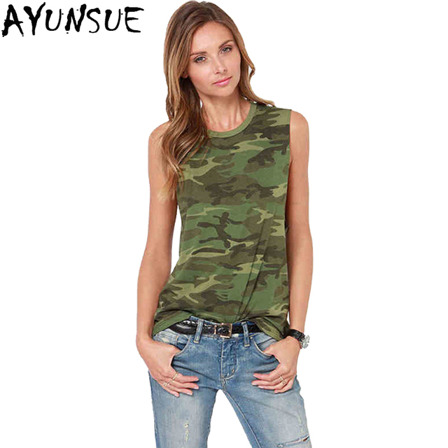 3511f0fc2fbb31 AYUNSUE New 2018 Sex Summer Tank Tops Camouflage Sleeveless Cotton Blouse  Slim Fit Camis Women Casual Shirts Lady Vest LX1680