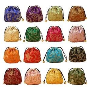 24pcs Brocado De Seda Jóias Bolsa Saco Pequena bolsa De Moedas de Cetim Bordado Com Cordão Saco Do Presente de Brocado Chinês para o Anel/ brinco