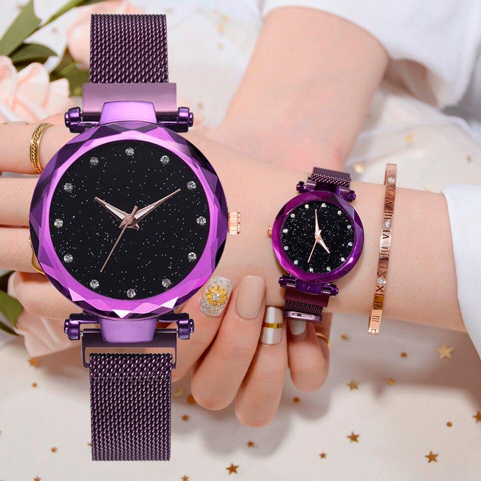 Las mujeres de lujo relojes de señoras reloj imán hebilla de diamante estrellado geométrica superficie vestido Casual de cuarzo reloj de pulsera