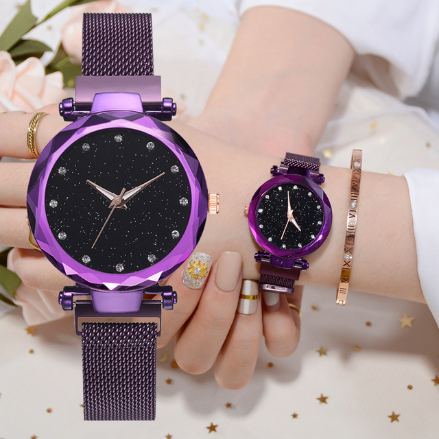 Luxury Women Watches Mesh Ladies Clock Magnet Buckle Starry Diamond Geometric Su